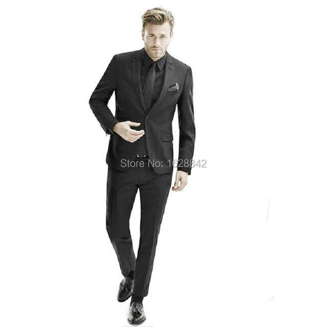 Высочайшее Качество Черные Костюмы 2 Шт Куртка + Брюки На Заказ Свадебные Костюмы Для Мужчин Индивидуальные Тонкий Fiit Жених Tuxedso Плюс Размер
