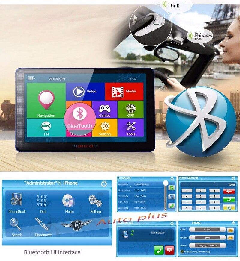 7 дюймов HD Автомобильный GPS навигации емкостный Экран bluetooth fm построен в 8 ГБ/256 м Сенсорный экран Географические карты Бесплатная обновления ...