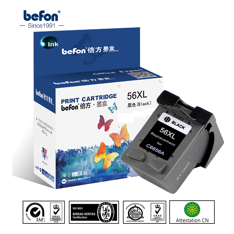 befon Remanufacture 56XL <font><b>Cartridge</b></font> Replacement for <font><b>HP</b></font> 56 HP56 Black Ink <font><b>Cartridge</b></font> Deskjet 2100 220 450 5510 <font><b>5550</b></font> 5552 7150 7350 image