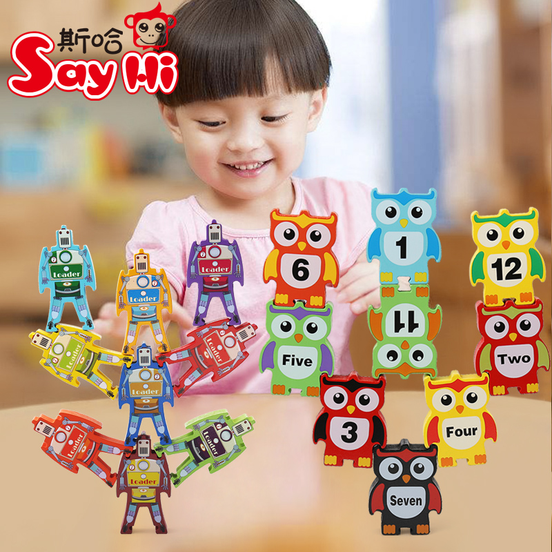 цена на Candice guo wooden toy wood balance robot loader owl number block Jenga game tower stacking building connect educational gift