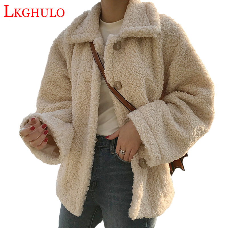LKGHULO 2018 New Winter Lambs Wool Jacket Women Parka Lapel Thicken Cotton Coat Women Lambswool Coats W412
