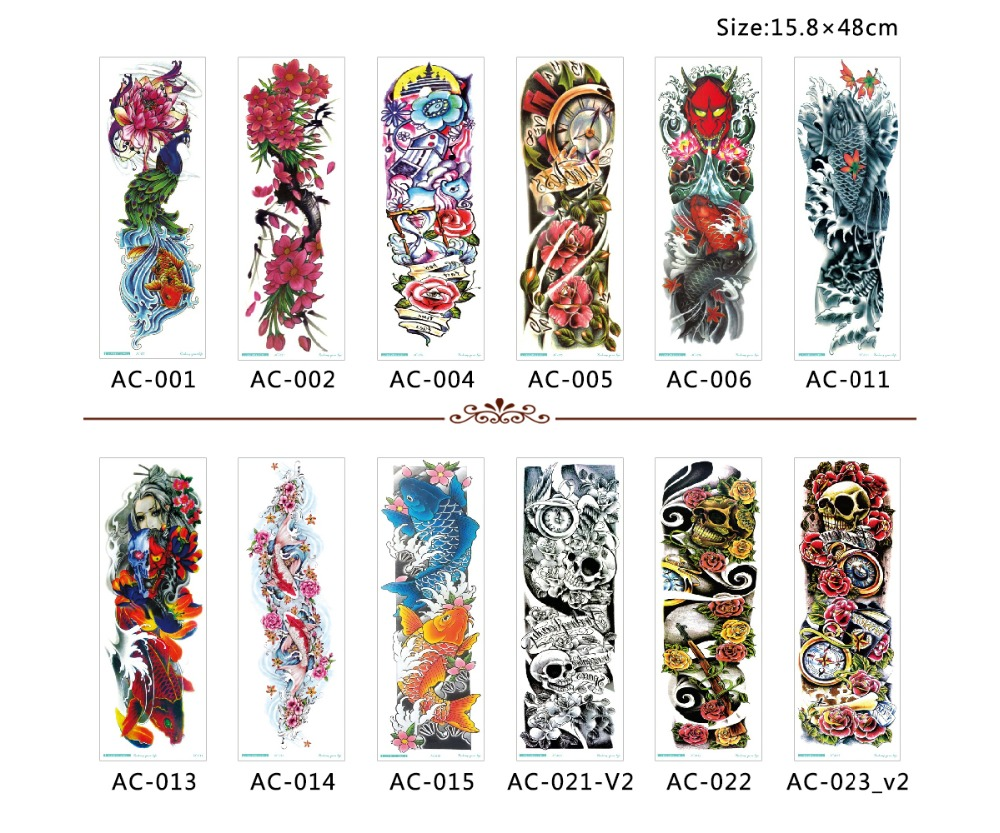 50pcs wholesale bulk order full arm tattoo sleeve temporary tattoo stickers tatoo hundred designs body art for women men 2019 in temporary tattoos from
