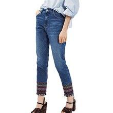 Лето 2017 женские брюки случайные вышитые джинсы старинные джинсовые брюки кисточкой женской одежды высокой талии джинсы