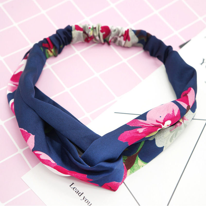 Купить с кэшбэком Fashion 1PC Girls Cross Flower Hair Band Women Sweet Elastic Sunflower Print headwear Accessroies