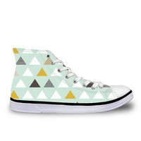 Customized Mod Mint Triangles Women Vulcanize Shoes Spring Girls Female Casual High top Canvas Shoes Walking Shoes Espadrilles