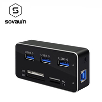 Multi 7 In 1 USB 3 0 Card Reader Front Panel 3 USB Ports SD MS