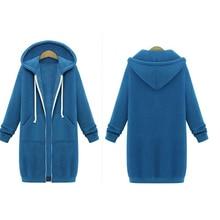 Autumn Winter Coat Women 2018 Fashion Casual Long Zipper Hooded Jacket Hoodies Sweatshirt Vintage Plus Size Outwear Coat 5XL