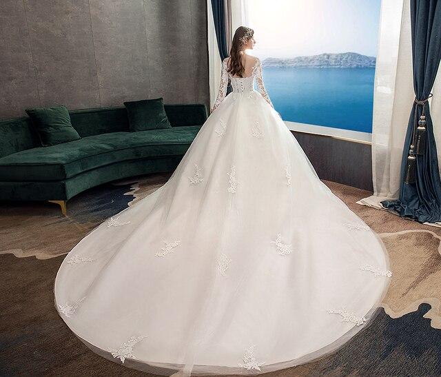 Full Sleeve Wedding Dresses 2021 Lace New Luxury Muslim Ball Gown Wedding Dress Custom Made Vestido De Noiva X 6