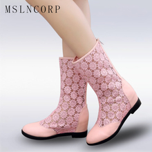 Size 34-43 Women Fashion Mesh Boots Summer Ankle Height Increasing Lace Zip Sexy Girl Females Party Lady