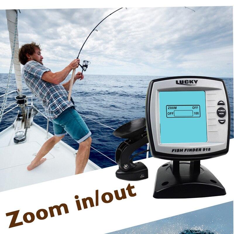 FF918-180S Fish Finder Wired Transducer Sensor Fishfinder 45 Degrees Echo LCD Fish Locator Boat EnglishRussian Menu Pesca Probe (9)