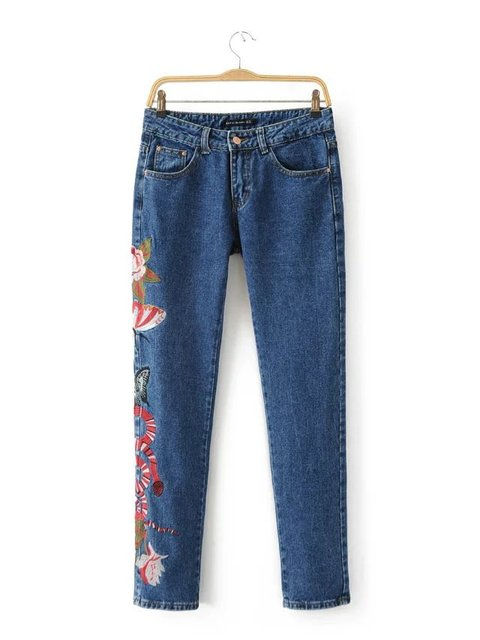 2016 New Spring Autumn Women Colorful Elastic Floral Embroidery Denim Jeans High Waist Straight Trousers for Women Feminino