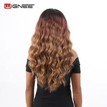 Wignee Long Wavy Hair Synthetic Wigs For Women Hand Made Front Lace Part Body Wave Wigs High Density Ombre Dark Brown Fake Hair