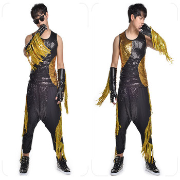 R26 Men singer stage show wears bodysuit Hip hop ballroom dance costumes party vest sequin tassel outfits pants bodysuit clothes