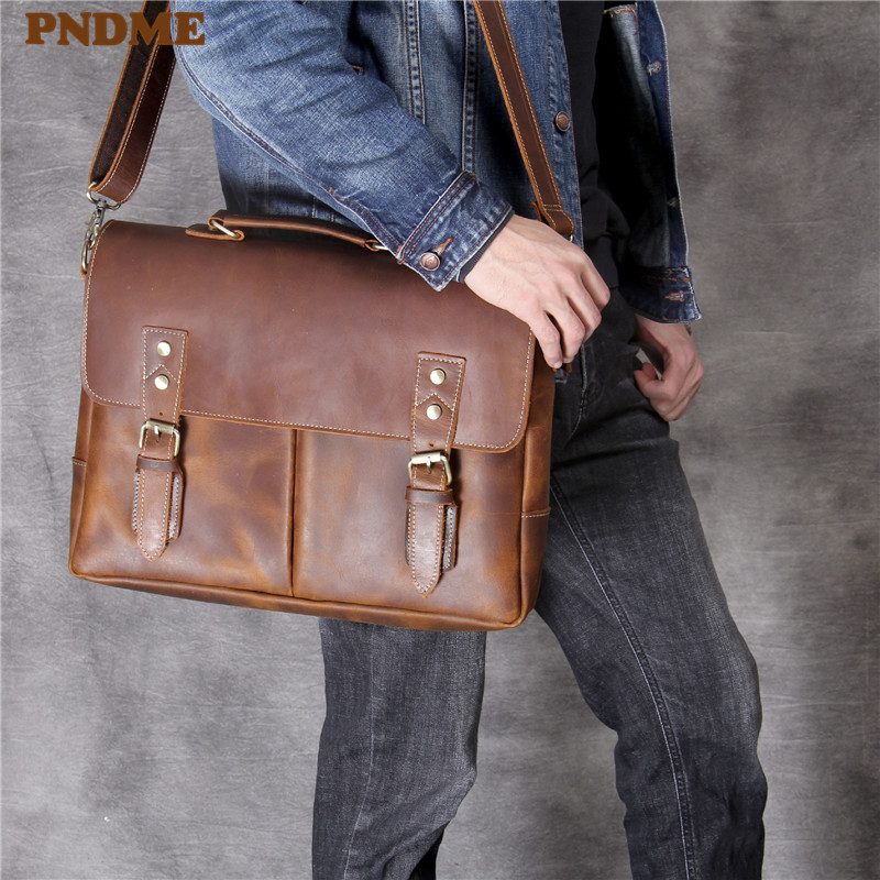PNDME High Quality Vintage Leather Men's Briefcase Large Capacity Handmade Brown Office Diagonal Business Bag Work Laptop Bag