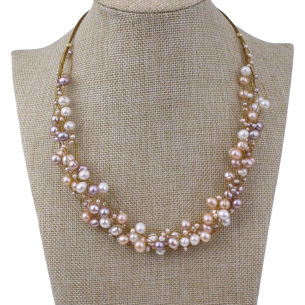 Haute qualité or tigre queue fil réel naturel perle d'eau douce collier bijoux de mariage cadeaux de mariée déclaration collier cadeaux