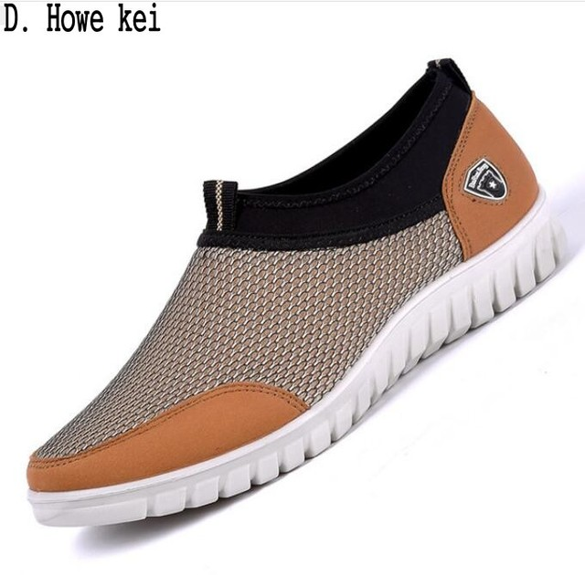 Tênis Calçados Casuais dos homens de Malha de Verão Homens Respiráveis Confortáveis Sapatos Loafers Slipon Walking calçados Tamanho Grande 38-48