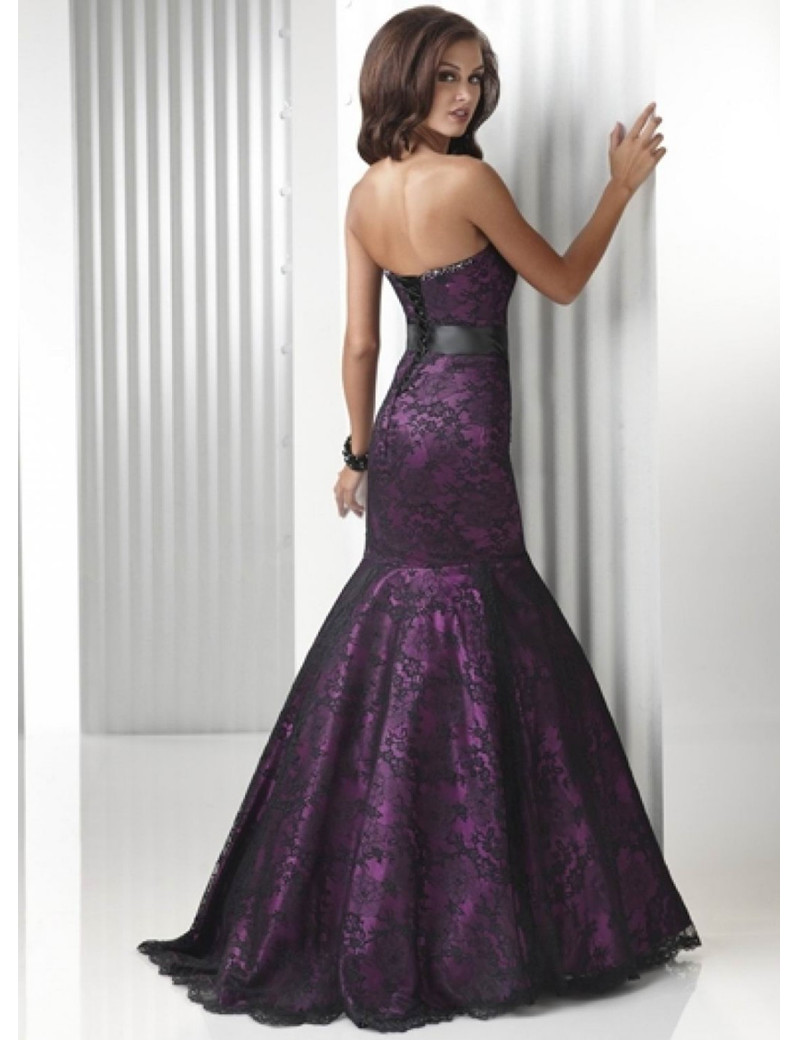 Long Lace Mermaid Evening Dresses Party Purple Beautiful Women Prom ...