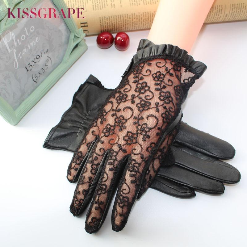 Elegant women gloves genuine leather sheepskin lace gloves women driving lace leather gloves ladies party mittens high quality