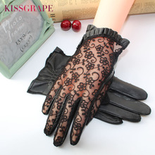 Elegant women gloves genuine leather sheepskin lace driving ladies party mittens high quality