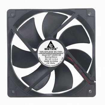 1pcs Gdstime 120mm 2Pin 12025 DC 12V 12cm 120*120*25 Brushless Cooling Industrial Fan new original ebm papst dv4118 2npu dc48v 0 46a 120 120 38mm 12cm ip54 cooling fan typ4118n 6xmv 4 5w typ4118n