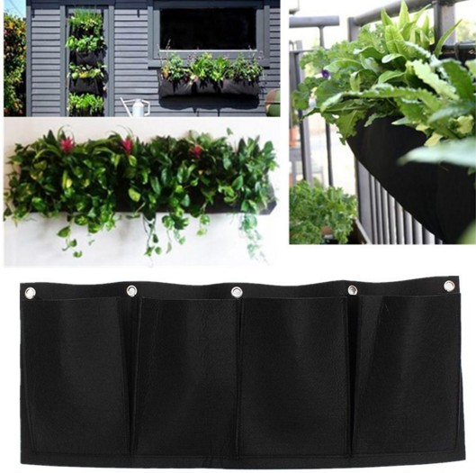 Low Price Outdoor Vertical Gardening Non Woven Hanging Wall Garden 4 Planting Bags Seedling Planter Pocketgarden In Flower Pots Planters From Home