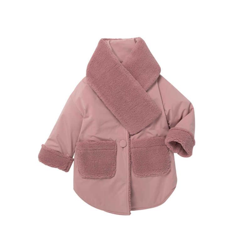 MiniBalabala/зимняя хлопковая куртка модные зимние куртки 2018 г. Новые детские пальто утепленные куртки из искусственного меха для детей, верхняя одежда 2-7T