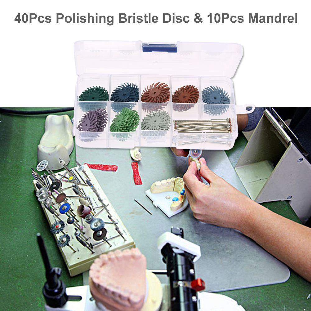 40Pcs Polishing Bristle Disc Brush Assortment Polisher & 10Pcs Mandrel for Wood Jewelry Dental Polishing Use(China)