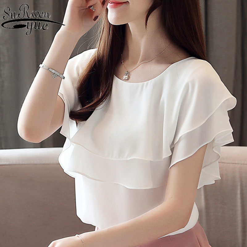 Blusas mujer de moda 2019 womens tops and   blouses   short sleeve ruffles chiffon   blouse   white   blouse     shirt   ladies tops 4359 50