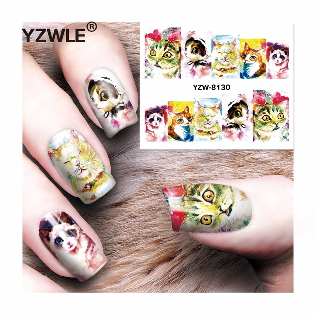YZWLE 1 Sheet DIY Decals Nails Art Water Transfer Printing Stickers Accessories For Manicure Salon  YZW-8130