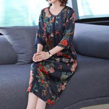 YICIYA Blue 2019 Plus Size Silk Dress for Women High Quality Xxl Flowing Print Elegant Vintage Loose Party Midi Dresses Clothes