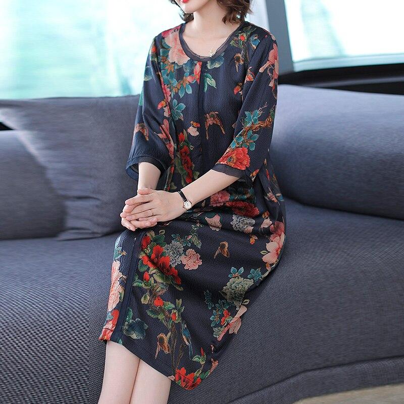 YICIYA bleu 2019 grande taille robe en soie pour les femmes de haute qualité Xxl fluide imprimé élégant Vintage lâche fête Midi robes vêtements