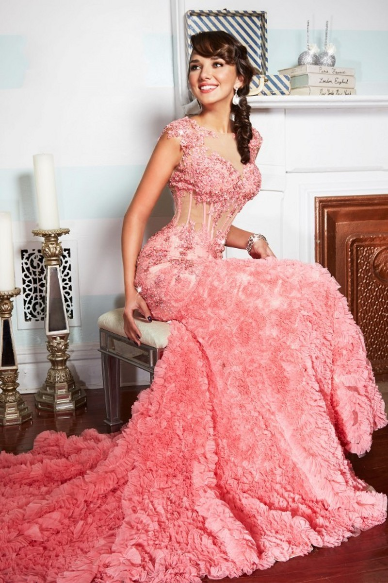 Aliexpress.com : Buy Coral Mermaid Evening Dress 2015 Janique Design ...