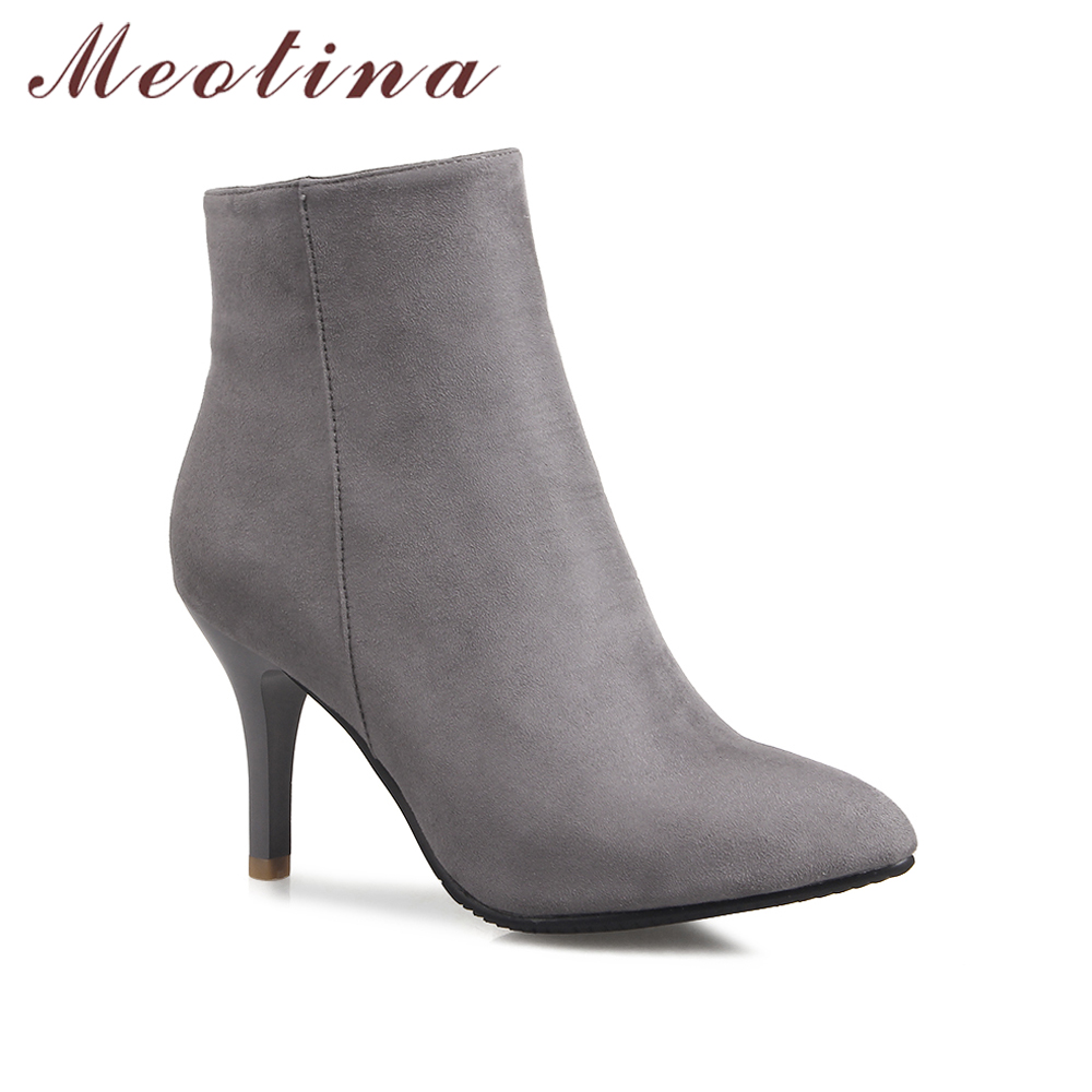 meotina design women ankle boots high heel boots grace pointed toe thin high heel shoes. Black Bedroom Furniture Sets. Home Design Ideas