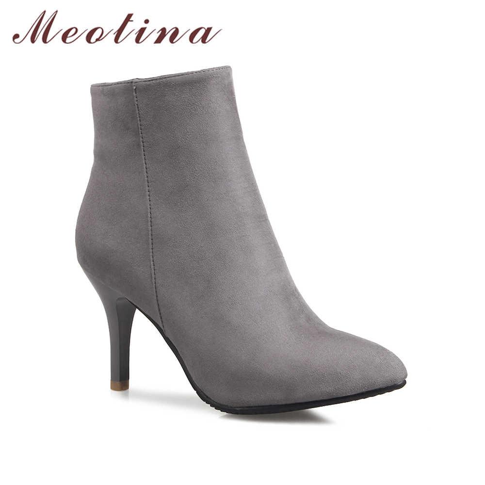 Meotina Tasarım Kadın yarım çizmeler Yüksek Topuk Çizmeler Grace Sivri Burun Ince Yüksek Topuk Ayakkabı Bayan Botları Zip Gri Kırmızı Büyük boyutu 12 46