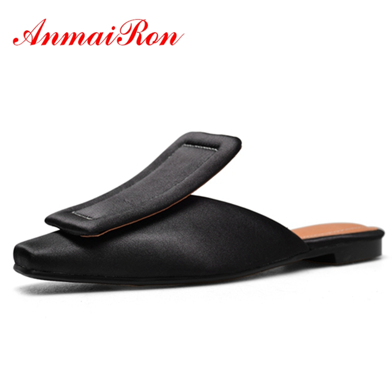ANMAIRON Women Flats Shoes Women Slingback Slip-On Cool Buckle Summer Plus Size 34-42 Causal Shoes Black Square Toe Chunky CR375