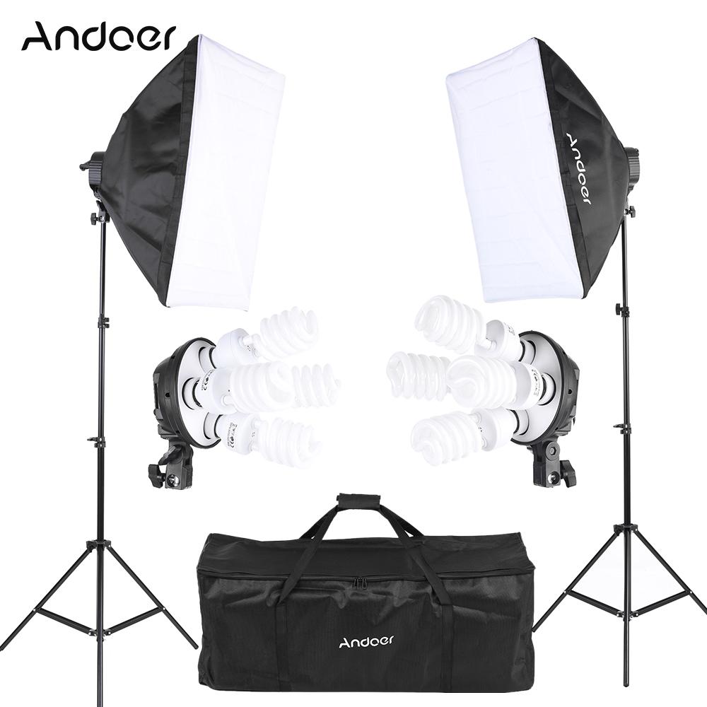 Prix pour Andoer Photo Studio Kit D'éclairage avec 2 * Softbox/2*4in1 Ampoule Socket/8*45 W Ampoule/2 * Lumière Stand/1 * Sac de Transport