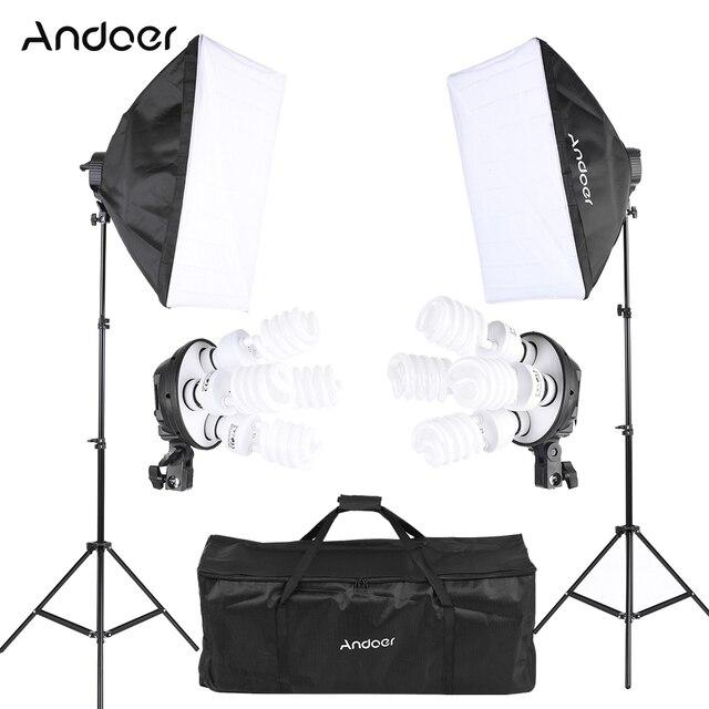 Andoer Photo Studio Lighting Kit with 2 * Softbox / 2 * 4in1 Bulb Socket / 8 * 45W Bulb / 2 * Light Stand / 1 * Carrying Bag