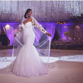 African Plus Size Mermaid Wedding Dress With Sleeves Lace Appliqued Sweetheart Long Sleeves Bridal Gowns Vestidos De Noivas