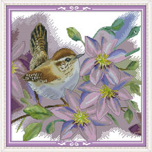 Branch bird Chinese Embroidery Cross Stitch Printed Canvas Cartoon Cross Stitch Kits The Chicken Knitting A Sweater(China)