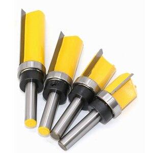 Image 2 - 8 мм хвостовик шаблон отделка шарнир отрезание фрезы прямой конец мельница триммер для очистки промывки тенон фрезы для деревообработки