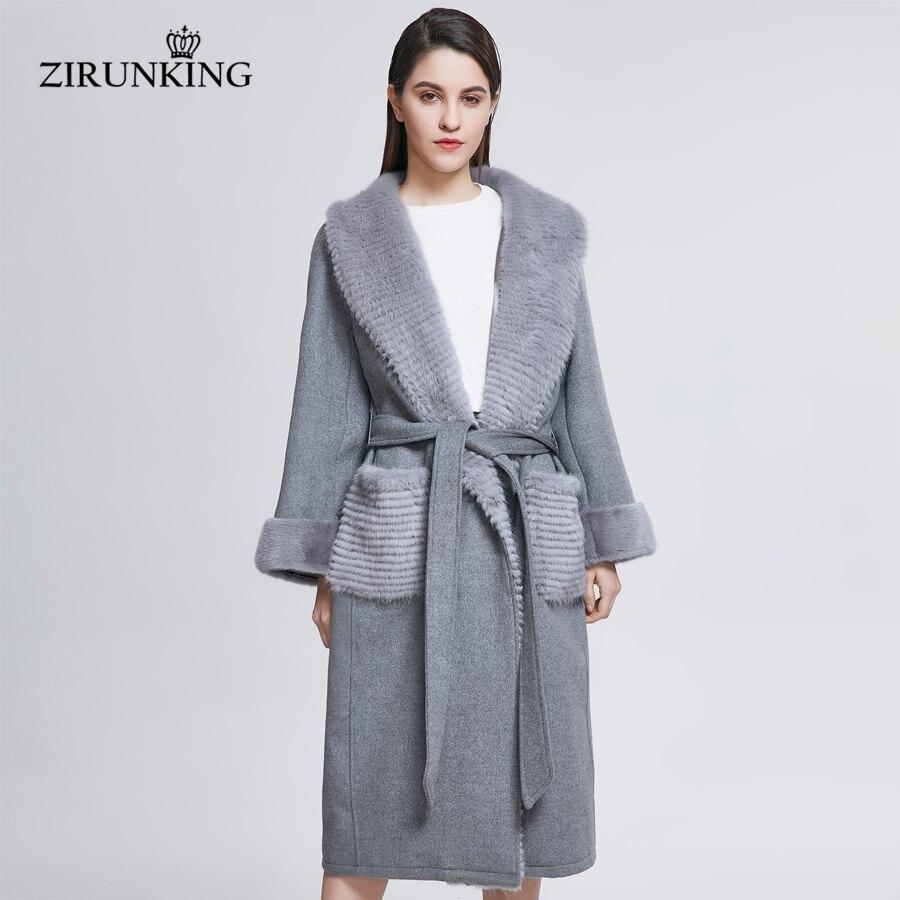 De Lady Laine Manteaux Mode Fourrure Street Zirunking Vraie Long Vêtements Zc1813 Vison High Gris Femme X Manteau long Rt5qxwg8