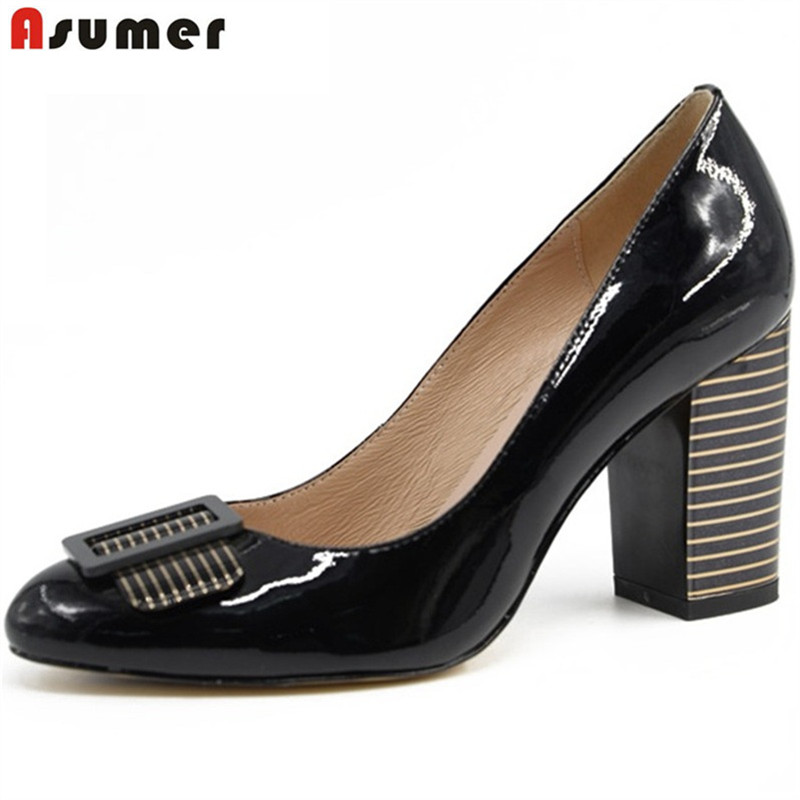 ASUMER 2018 new high quality genuine leather high heels patent leather women pumps square heel party wedding shoes woman black genuine cow leather female women s 10cm heels pumps round toes black beige quality female pr354 wedding party work pumps shoe