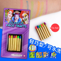 Mini Body Paint Crayons Pearl Neon Fluorescent Party Festival Makeup Kids Face Paint Pigment UV Glow Painting 6 Color Body Art Skin Care