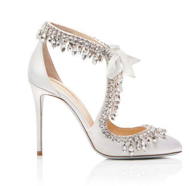 Zapatos de boda de satén blanco elegante de novia Bling de cristal borla de encaje de tacón alto de mujer plus tamaño 10 - 4