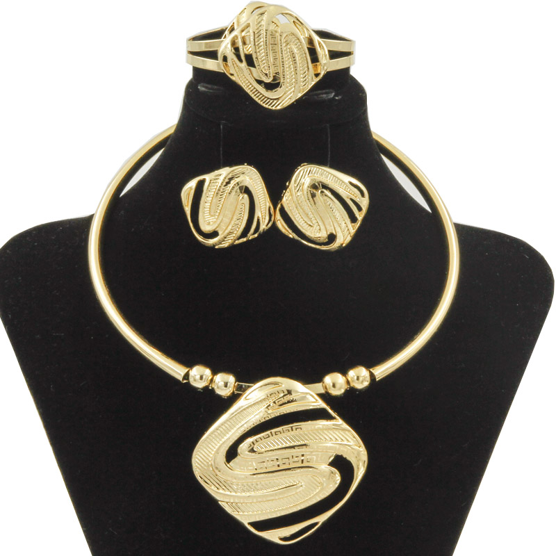 Liffly Bridal Jewelry Sets For Women Dubai Gold Big