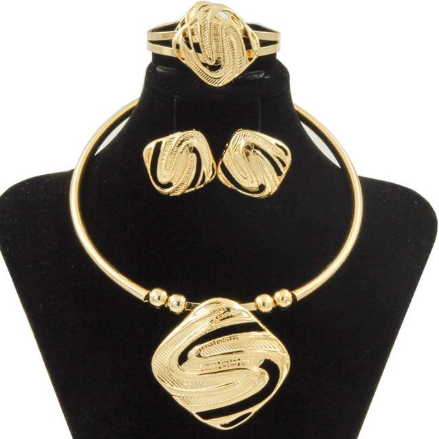 Liffly אופנה כלה תכשיטי סטים לנשים דובאי זהב גדול שרשרת עגילי צמיד טבעת חתונה אירוסין תכשיטי סט