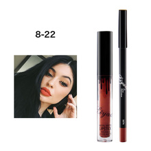 Brand LIYADA Matte Liquid Lipstick+Lips Pencil Makeup Lasting Waterproof Matte Lip Gloss Rouge Kilie Cosmetics Lip Kit Batom(China)