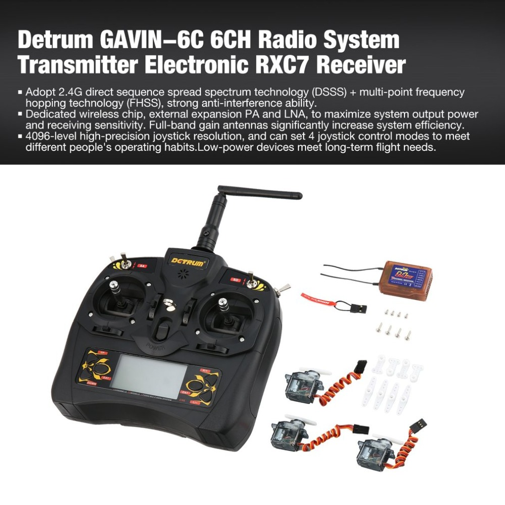 Detrum GAVIN-6C 6-Channel 2.4G Digital Remote Control + RXC7 Receiver + 4 * 9g Steering Gear Set for RC Plane Boat Car Model ht new replacement for sony rm aau013 av receiver remote control for ht ddw685 ht ddw790 e15 strdg500 strdh100 strdh500