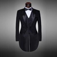 คลาสสิกการออกแบบผู้ชายสีดำและสีขาวแต่งงานสูท/