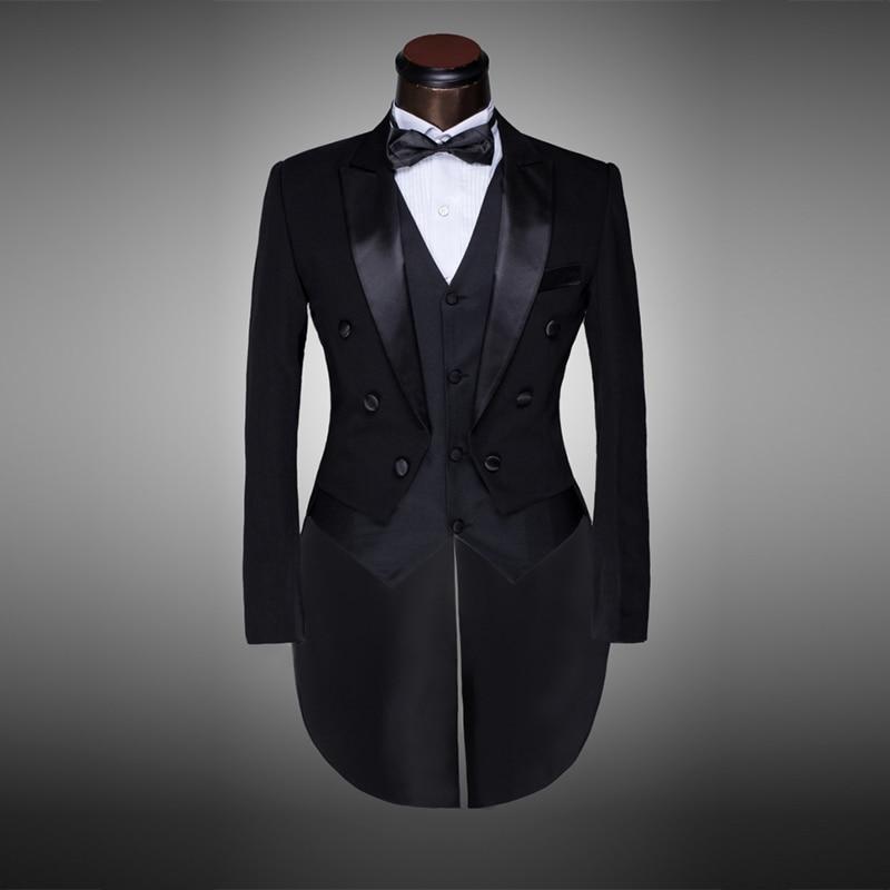 Classic Design Men Black&White Wedding Suit/Groom Tuxedo/Evening Party/Costumes Tailcoat 4pieces Blazer(Jacket+Pants+Belt+Tie)